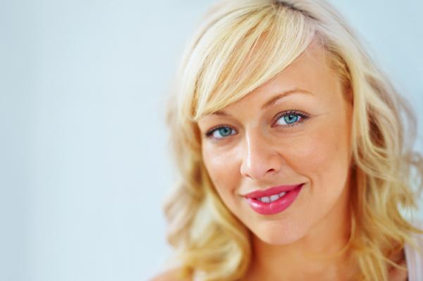 Woman wearing bold lipstick