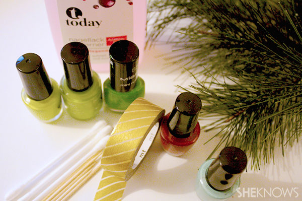 Christmas tree nail art tutorial supplies