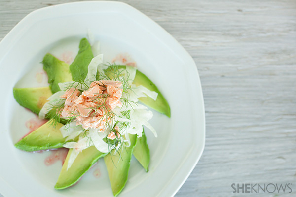 Avocado fennel and salmon salad in a blood orange vinaigrette