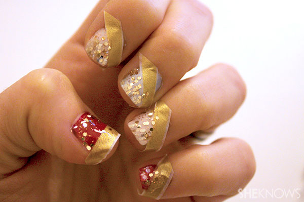 Glittery Christmas nail art tutorial paint uncovered part of nails