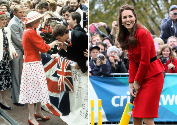 Princess Diana and Kate Middeton wearing red