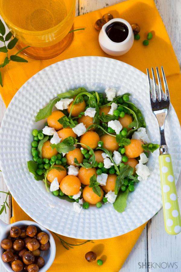 Peas, melon and feta salad with elderflower vinaigrette recipe