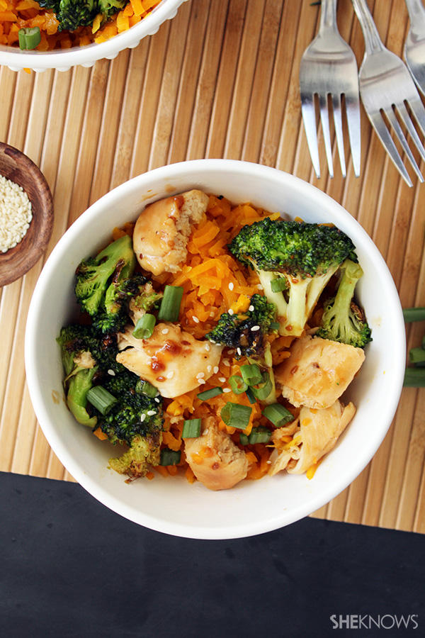 Teriyaki chicken and broccoli with butternut squash rice