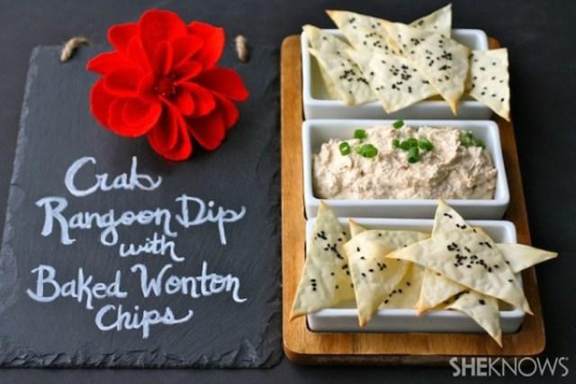 Crab Rangoon dip with baked wonton chips