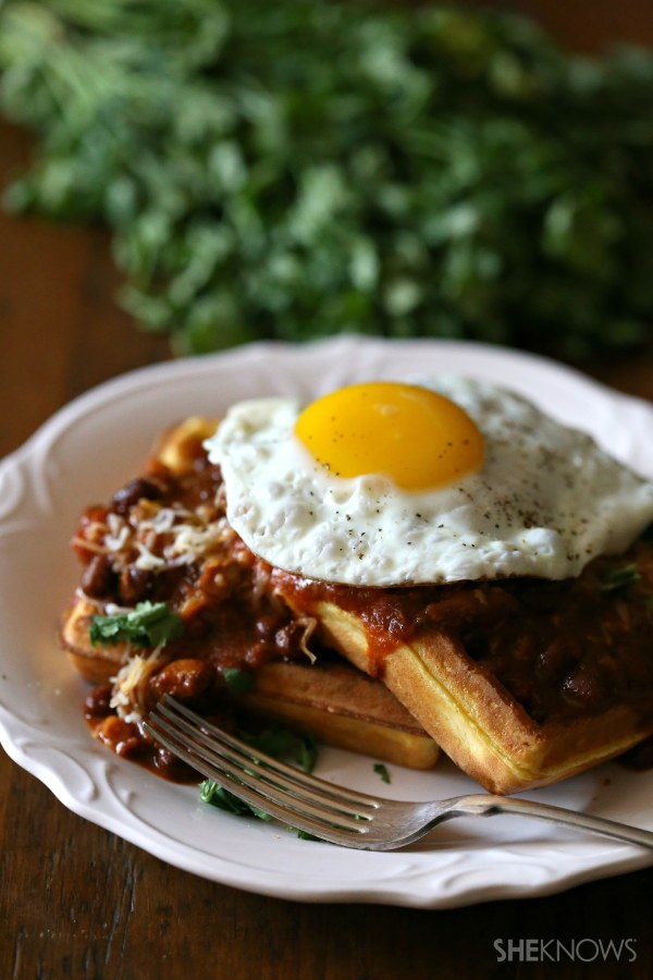 Cornbread waffles topped with quick stove top chili