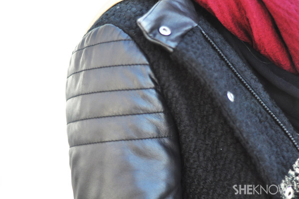 Leather sleeves and details let you participate in the trend without having to fully commit.