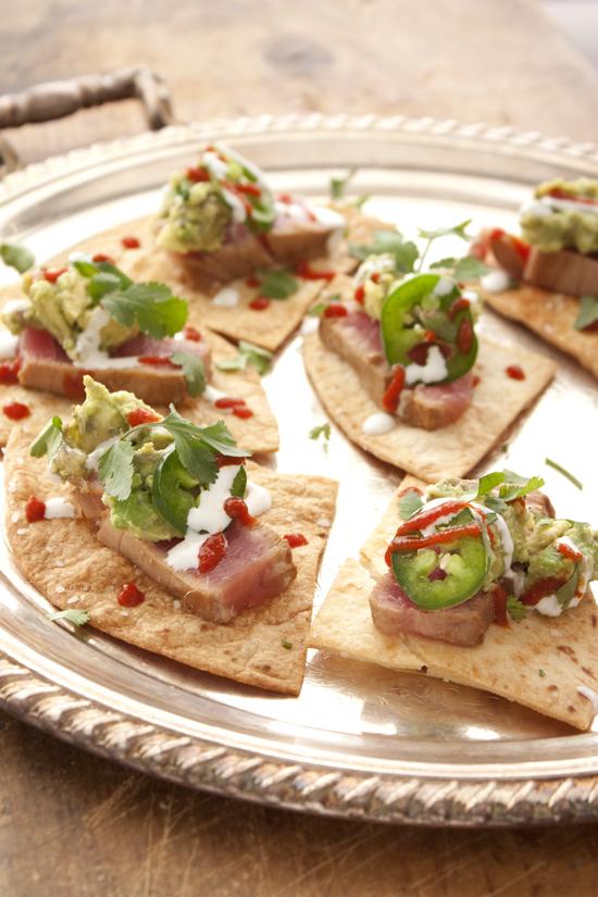 Seared tuna on baked flour tortilla chips