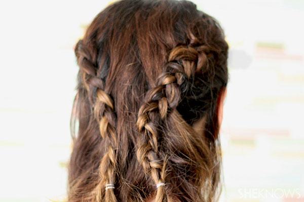 Loop braid tutorial Step 2 take dutch braids to back