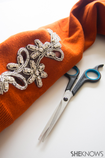 Sweater DIY: Embellished cut-outs | Sheknows.com -- sew and cut