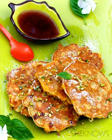 Banana pistachio pancakes with reduced marsala syrup recipe