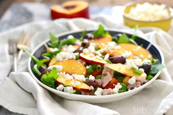 Tuna, peach and olive salad