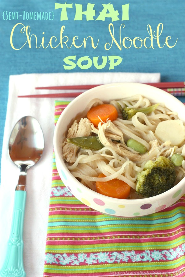 Semi-homemade Thai chicken noodle soup