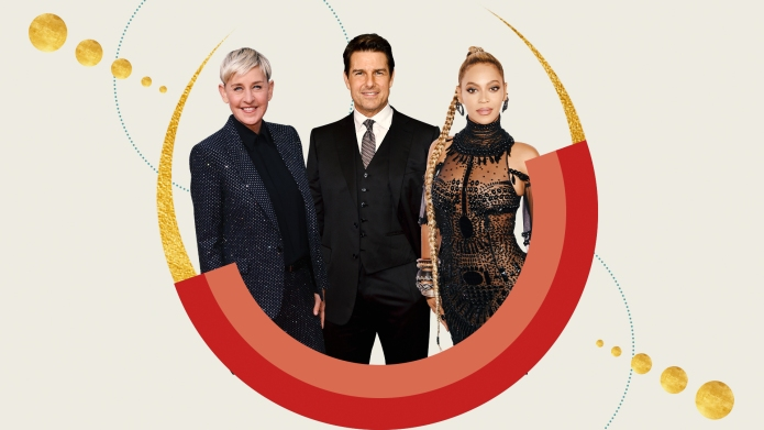 Ellen DeGeneres, Tom Cruise, Beyoncé on designed background
