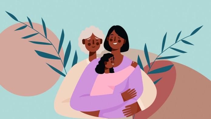 three generations black mom daughter grandma