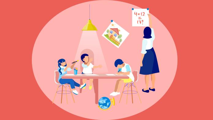 Mom homeschooling teaching