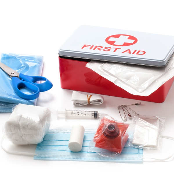 A thoroughly stocked at-home first aid kit