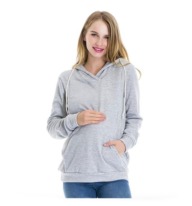 Smallshow Women's Fleece Maternity Nursing Sweatshirt