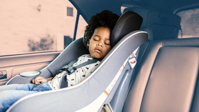 Black toddler in car seat