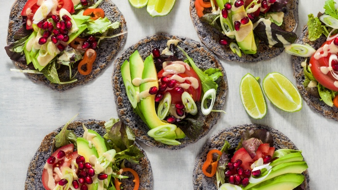 Gluten-free vegan tacos from black bean