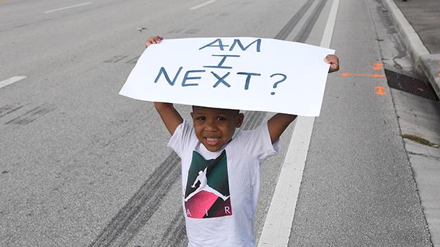 young boy at black lives matter