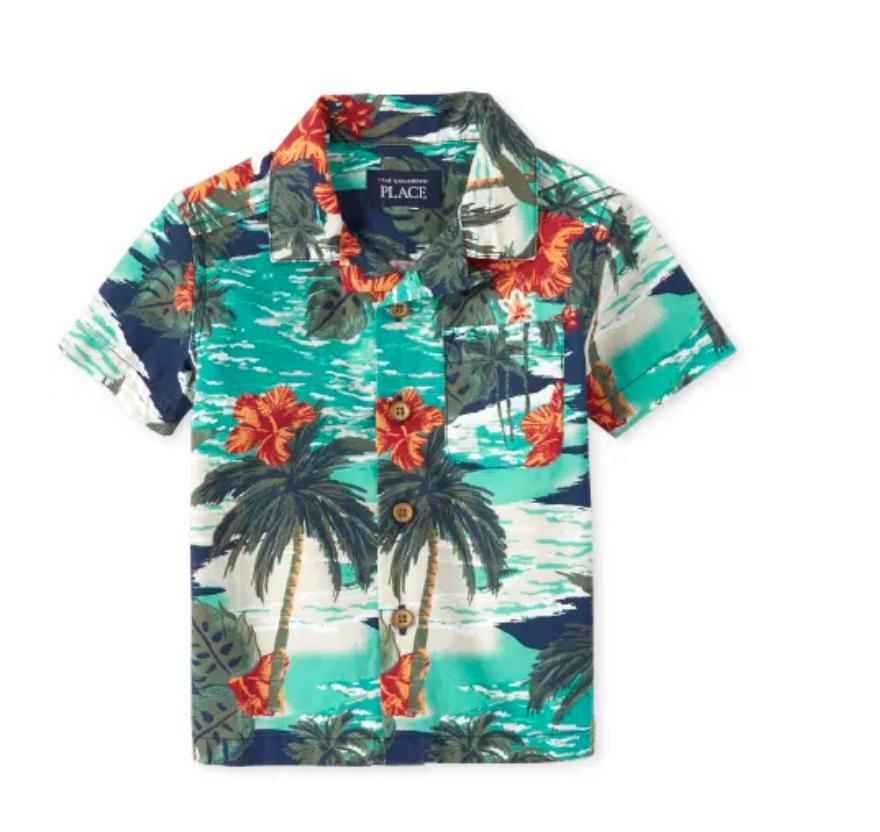 the children's place tropical button down shirt