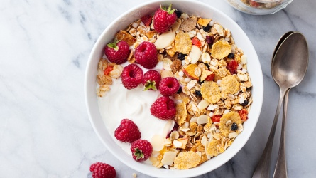 Healthy breakfast. Fresh granola, muesli with