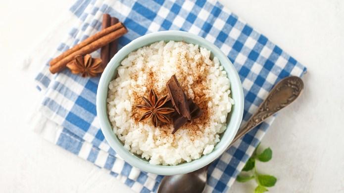 Rice porridge with cinnamon in a