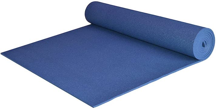 A blue yoga mat.