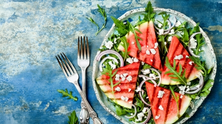 Fresh summer grilled watermelon salad with