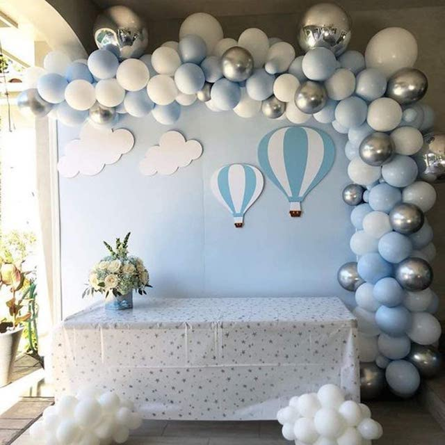 Blue White and Silver Balloon Garland & Arch Kit