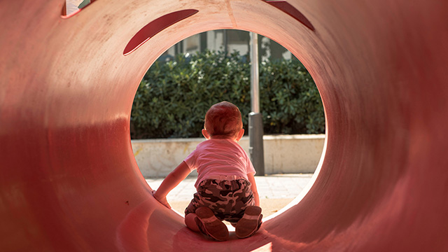 toddler in playground
