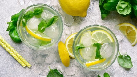 Homemade summer basil lemonade in a