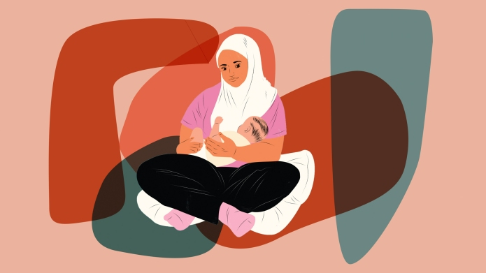 breastfeeding mom in hijab