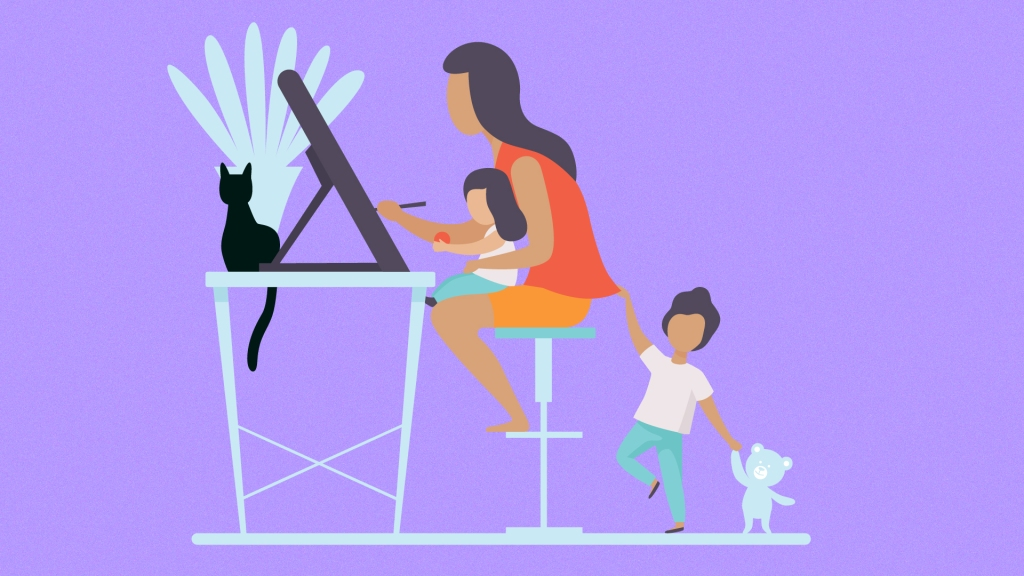 Working mom at home with kids