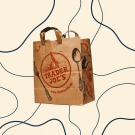 Trader Joe's shopping bag on ivory