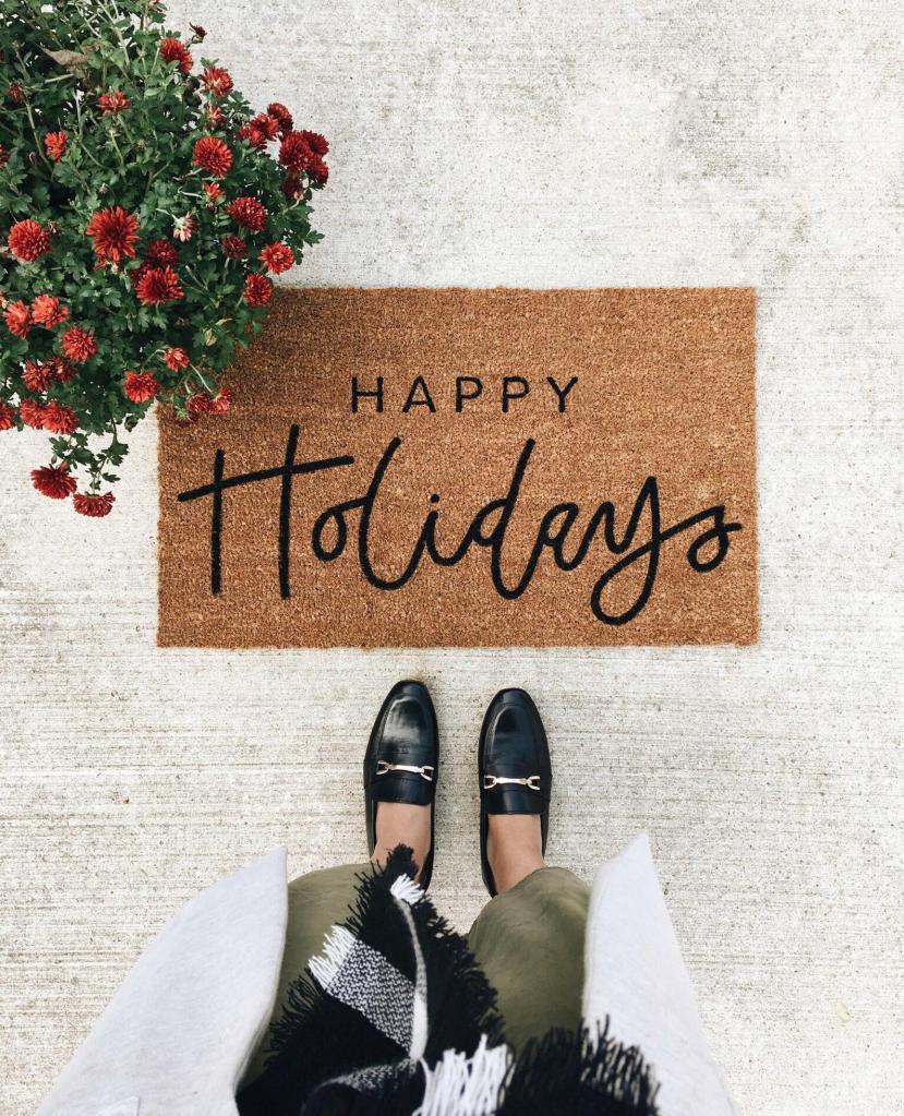 holiday doormat, etsy