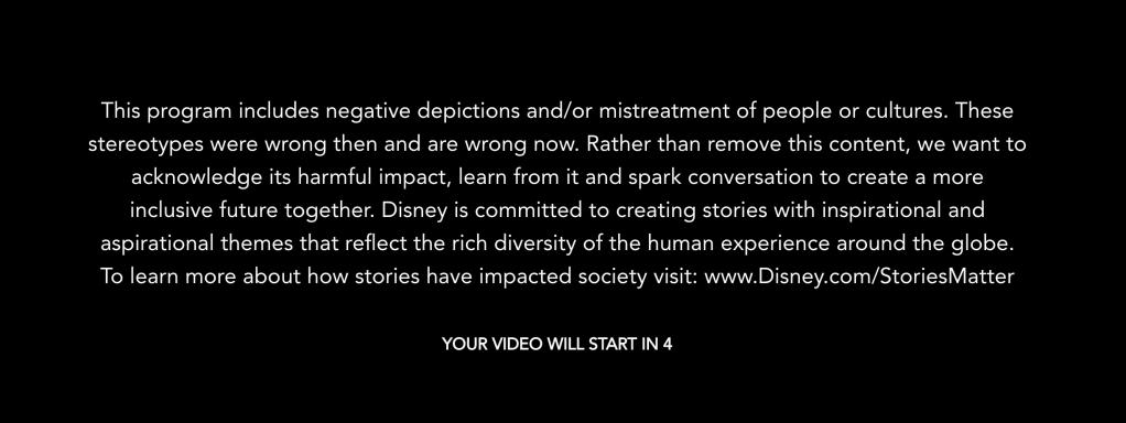 Disney Plus warning racism