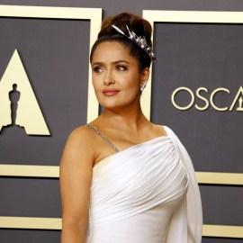 salma Hayek white gown