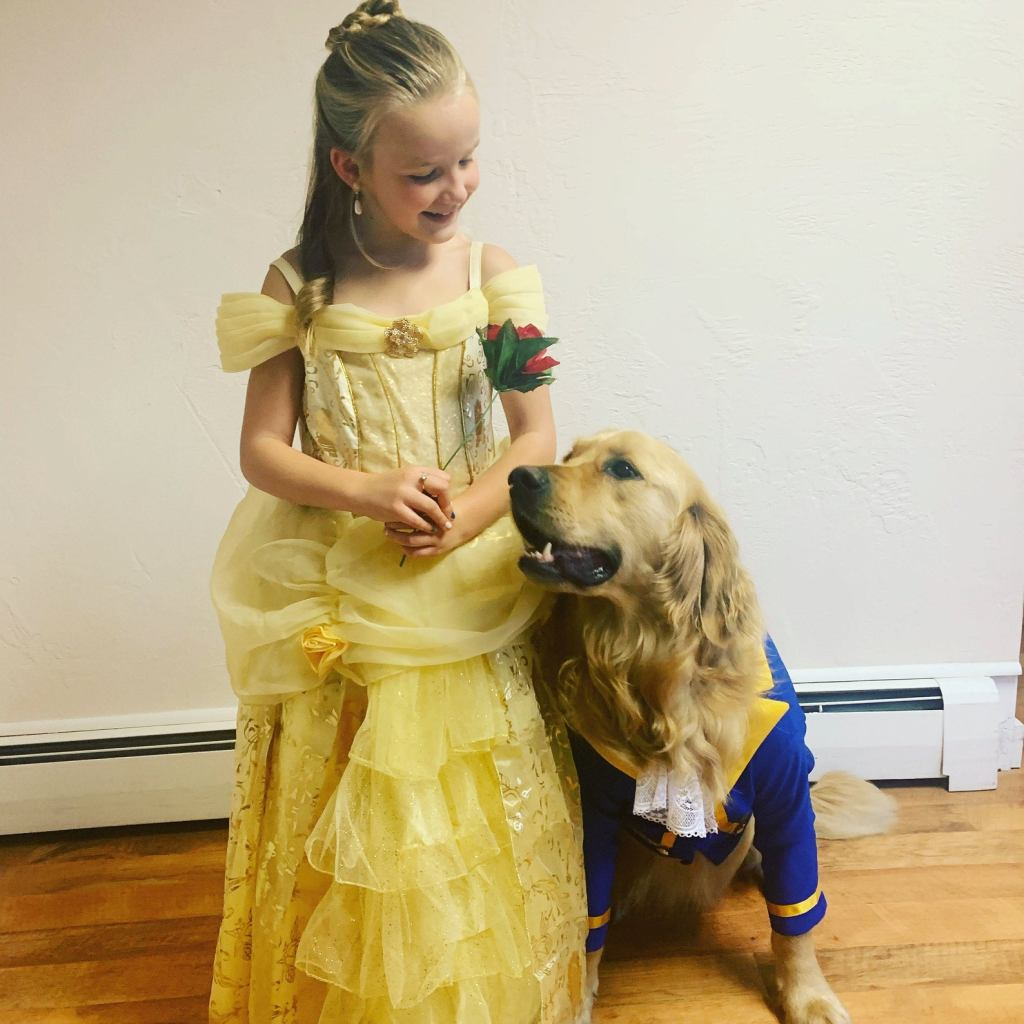 Beauty and the Beast Child and Dog Halloween Costumes