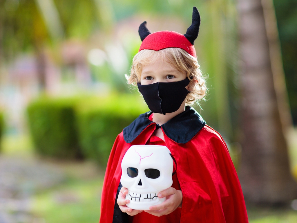 Devil Halloween costume masked child trick-or-treat