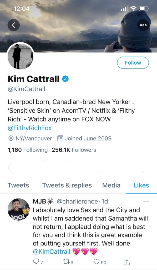 kim Cattrall tweet