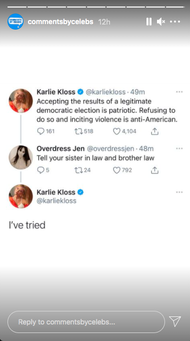 "Comments By Celebs Instagram Story: Karlie Kloss responds to Ivanka Trump comment saying ""I've tried"""