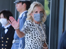 First Lady Jill Biden Wore Polka Dots & Pearls For the Tokyo Olympics Opening Ceremony