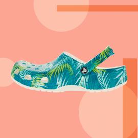 Crocs clog on colorful background